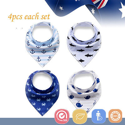 4pcs Baby Bibs Pure Cotton Bandana Feeding Kid Toddler Unisex Boy Dolphin Blue