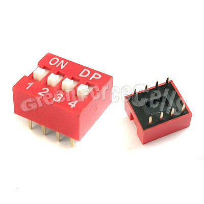 10  4 Position Ways Slide Style DIP Switch 2.54mm Pitch Gold Tone 8 Pin PCB Code