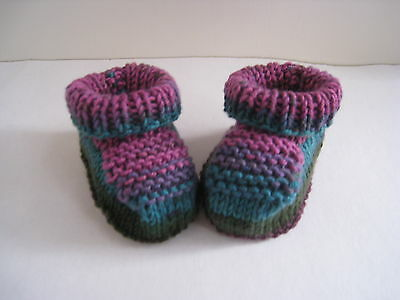 Baby Booties/shoes Gift Shower girl Handknit Draylon Multi colour
