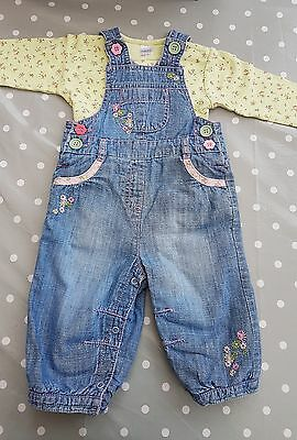 Next baby girls denim dungarees  6-9 months immaculate condition
