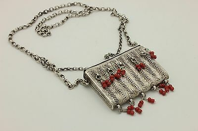 Antique Original Silver Ottoman Coral Decorated Amazing Anatolian Necklase