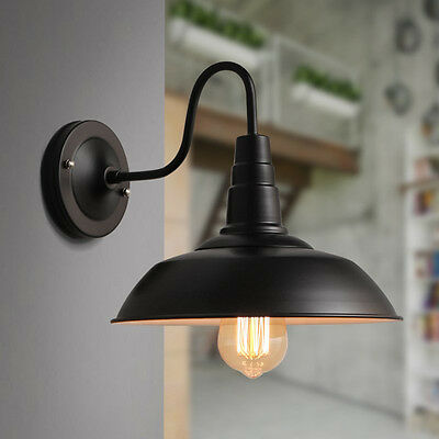 Vintage Industrial Gooseneck Style Barn Wall Lamp Sconce Wall Light 26cm Black