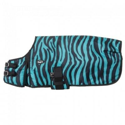 Tough-1 600D Dog Blanket in Prints 150g Frill Small Turquoise Zebra