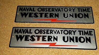 2 WESTERN UNION NAVAL OBSERVATORY TIN SIGNS 1950's GREAT SHAPE