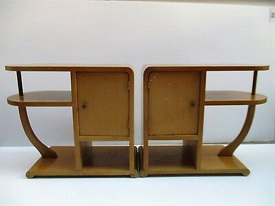 Pair 2 Matching Vtg Art Deco 1930s Wood End Side Tables Solid Wood Curved Bent