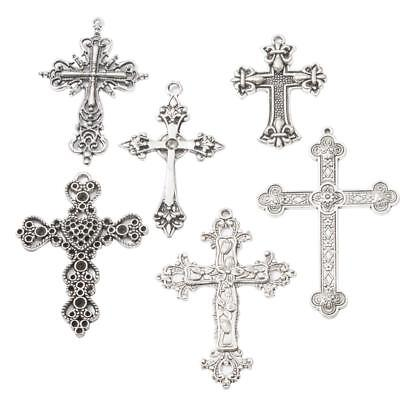 6 Style Vintage Cross Antique Silver Charms Pendants Jewelry Making Findings
