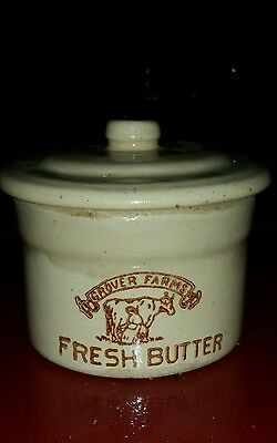 """VINTAGE Stoneware Butter Crock With Lid """"Grover Farms""""-Milk Maid Milking A Cow"""