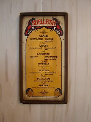 Shellfish Menu Plaque Wall Hanging Vintage 70's Restaurant Decor Sign