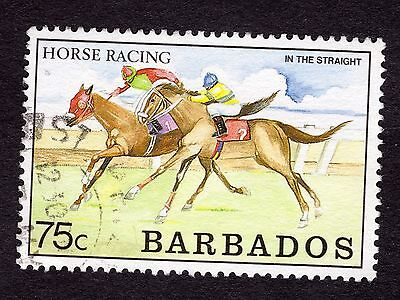 1990 Barbados 75c Horse Racing in the straight SG917 FINE USED R32212