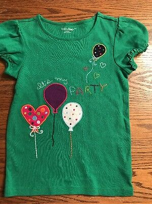 """Baby Gap Toddler Girls Size 5T """"It's My Party"""" Green Short Sleeve Tee Shirt"""