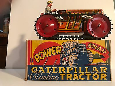 Marx Vintage (1950's) New In Box Caterpillar Wind Up Climbing Tractor