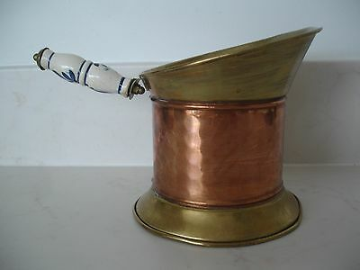 Copper & Brass Jug. Has Ceramic Handle With Blue Decoration Bought In France