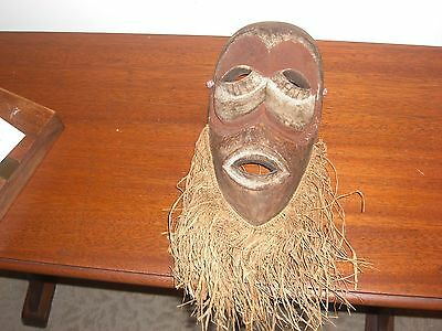 Vintage  Hand Made Rafia Bearded African Mask Congo
