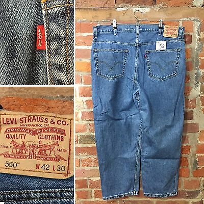 Vintage Levi'S 550 Relaxed Fit Jeans W42 L28 Blue Denim Red Tab (J75)