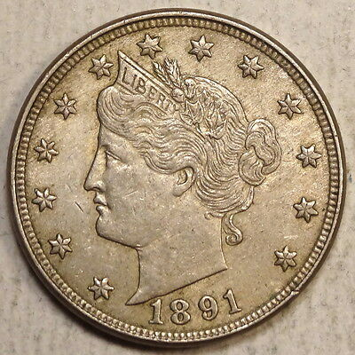 1891 Liberty Nickel, Almost Uncirculated, Nice Original Coin    0627-07