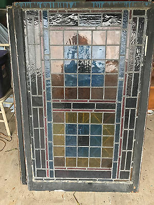 "Antique leaded stained glass window 52"" x 34 1/8"""