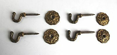 4 Antique Brass Hook Wall Bracket Pictures Curtain Wardrobe Clothes L:4,5