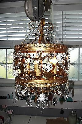 Vintage Antique Italian French Crown Cake Style Rose Tole Chandelier