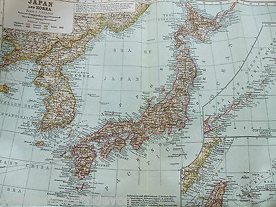 Antique Print Map Dated 1926 Japan And Korea Fold Out Map Colour Atlas World