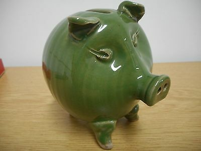Studio Pottery Pig / Piggy Bank / Money Box, Green