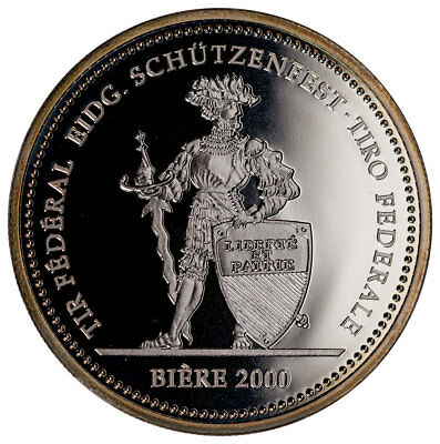 2000 Switzerland Shooting Festival Thaler Biere Silver Proof Fr.50 Cap SKU47993