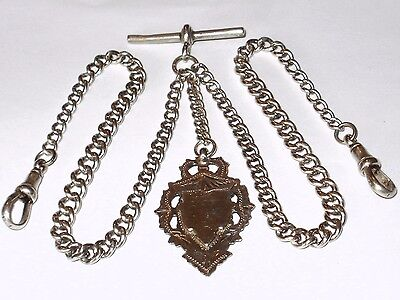 Antique English Sterling Silver Double Pocket Watch Chain & Fob,links Hallmarked