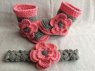 Hand knitted/ baby  girl booties/shoes and crochet  headband 0-3 months