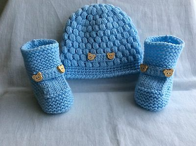 Hand knitted / baby boy booties/ crochet hat 0-3 months