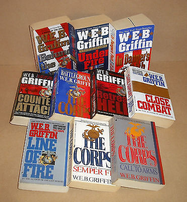 ALL 10 CORPS W.E.B. Griffin lot Semper Fi, Battleground, Under Fire, Line of ...