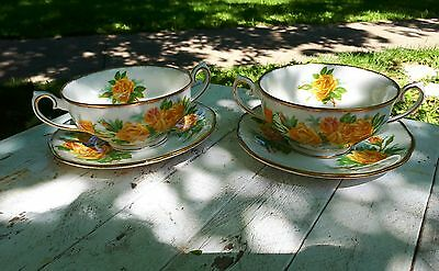 2 - Royal Albert Yellow Tea Rose England Bone China Cream Soup Cup & Saucers