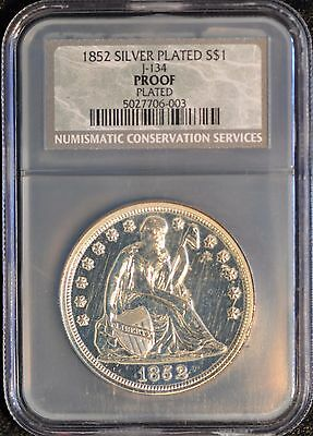1852 $1 COPPER Silver Plated Judd 134 Proof Plated. Rarity 8. NCS/  NGC UNC
