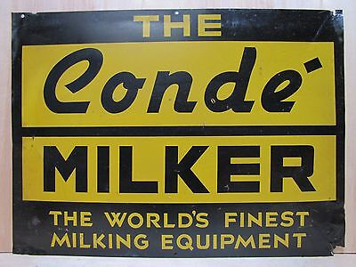 Orig Old CONDE' MILKER Sign World's Finest Milking Eqpmnt Farm Feed Seed Store
