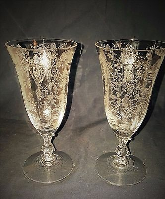 """2 VINTAGE CAMBRIDGE ROSE POINT CLEAR CRYSTAL ETCHED 5 3/4"""" 5 oz Juice Glass"""