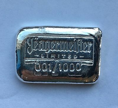 "1oz Hand Poured 999 Silver Bullion Bar ""Yeagermeister"" by YPS"