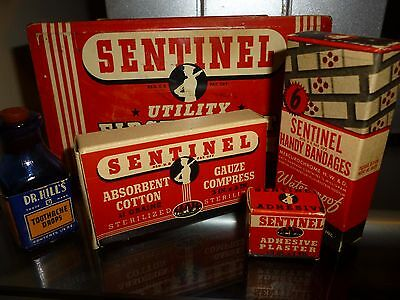 Vtg Metal Tin Sentinel Utility First Aid Kit Box Cleveland U.S.A. Contents LOOK!
