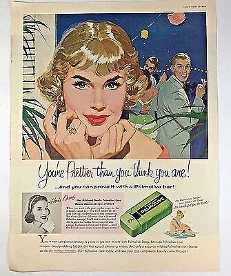 Vintage 1950s 50s Ad Pretty Young Lady Palmolive Bar Soap 1957 MCM Mad Men AD