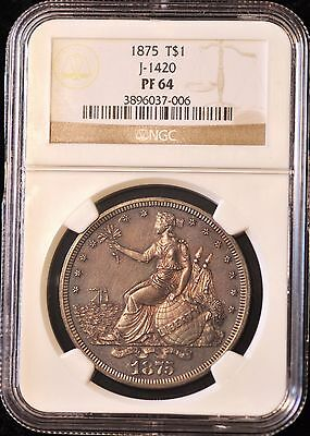 1875 $1 silver trade dollar.Rare Pattern proof J-1420 Pollock-1563 R7+ PF64 NGC