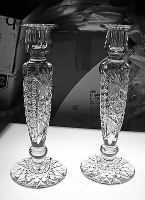 Pair #2 Of Abp Cut Glass Crystal Candlesticks