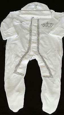 ❤ Princess Crown motif  sleepsuit and hat size 0-3 months❤