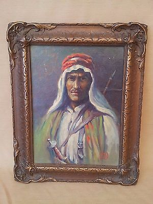 Antique Painting Oil on Canvas Arab Man Portrait Artist Signed Framed