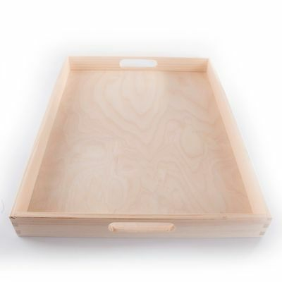 Extra Large Wooden Serving Tray / 50x40cm / Plain Wood Breakfast Dinner Platter