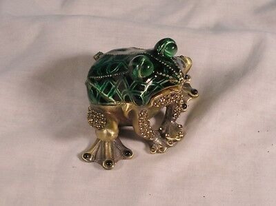 Vintage Cast Metal Frog Shaped Trinket Box With Hinged Lid