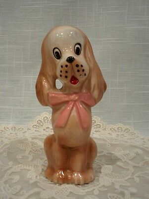 Vintage ceramic dog puppy pink bow Irish Setter Cocker Spaniel figure figurine