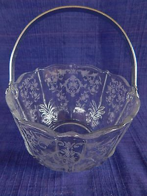 Fostoria Navarre Clear BAROQUE ICE BUCKET WITH HANDLE  *have more items to set*