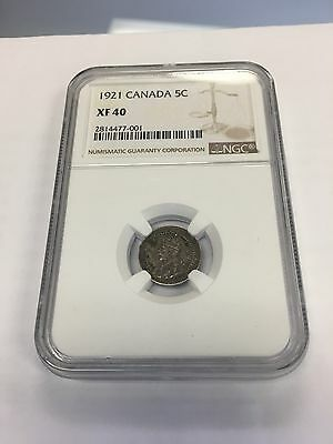 1921 Canada Silver 5 cent NGC XF40 Rare