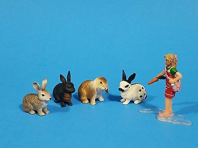 Schleich lot of 5 rabbits girl
