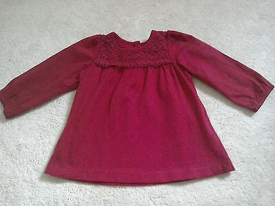 Girls red lace trim top 3-6 months