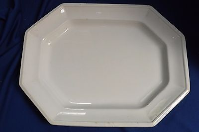 "Antique John Alcock England White Octagonal Ironstone 15""by12"" Platter Great"