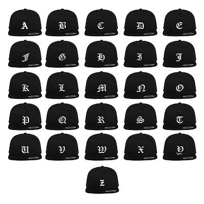 Old English Letters Initial Snapback Hat Cap To Match Sneakers New - Black 0a8b10a1ab5
