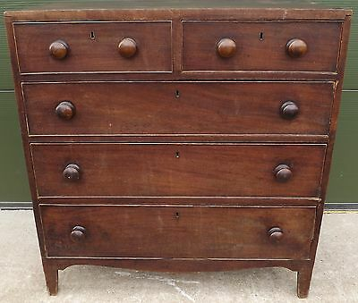 Antique Georgian Mahogany Chest Of Drawers Two Over Three Drawers Country Piece